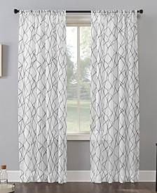 "Abstract Geometric Embroidery Semi-Sheer Rod Pocket Curtain Panel, 50"" x 84"""