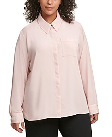 Plus Size Buttoned One-Pocket Blouse