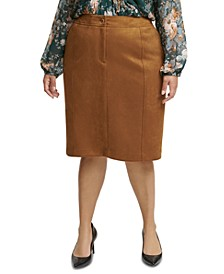 Plus Size Faux-Suede Pencil Skirt