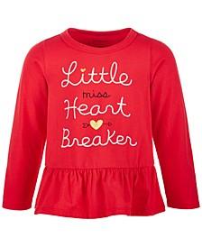 Baby Girls Heart Breaker Cotton Peplum Top, Created for Macy's