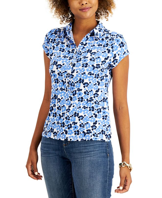 Charter Club Petite Floral-Print Polo Shirt, Created for Macy's