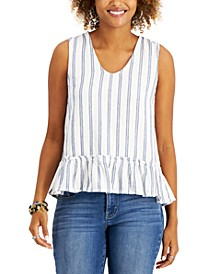 Petite Striped Ruffle-Hem Top, Created for Macy's