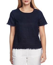 Women's Short Sleeve Frayed Edge Tee