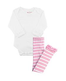 Baby Girls Bodysuit and Stripe Tight Set