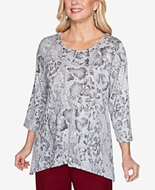 Women's Plus Size Madison Avenue Python Melange Top
