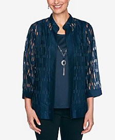 Alfred Dunner Women's Plus Size Wisteria Lane Burnout Two For One Shirt