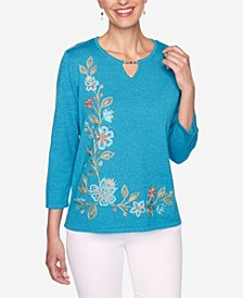 Women's Plus Size Colorado Springs Floral Asymmetric Embroidery Sweater