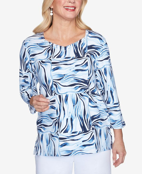 Alfred Dunner Women's Plus Size Classics Animal Print Patchwork Top
