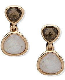 Gold-Tone Jet & White Stone Clip-On Drop Earrings