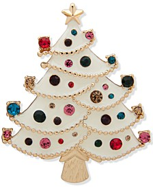 Gold-Tone Multicolor Crystal Tree Boxed Pin