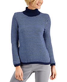 Karen Scott Cotton Textured Turtleneck Sweater, Created for Macy's
