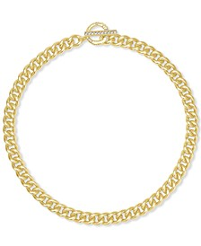 "14k Gold-Plated Cubic Zirconia Large Link 18"" Chain Necklace"