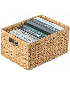 Natural Woven Large Water Hyacinth Wicker Rectangular Storage Bin Basket with Handles