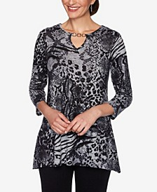 Women's Plus Size Mixed Animal Print Top