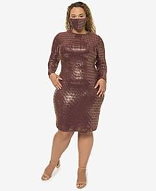 Trendy Plus Size Sequin Dress & Face Mask