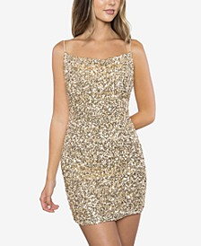 Juniors' Cowlneck Sequinned Dress