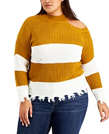 Trendy Plus Size Asymmetrical Mock-Neck Distressed Sweater