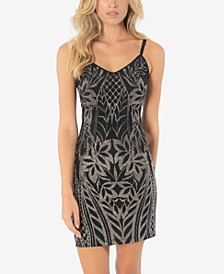 Juniors' Glitter-Pattern Bodycon Dress