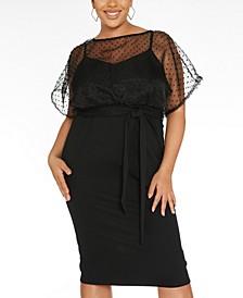Plus Size Organza-Top Midi Dress