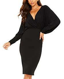 Batwing-Sleeve Bodycon Dress