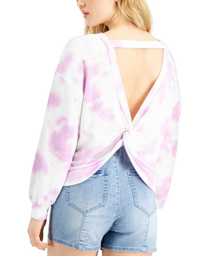 Bar III - Tie-Dyed Twist-Back Sweatshirt