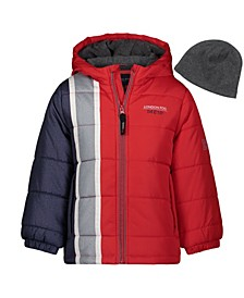 Little Boys Hooded Bubble Jacket with Hat Set