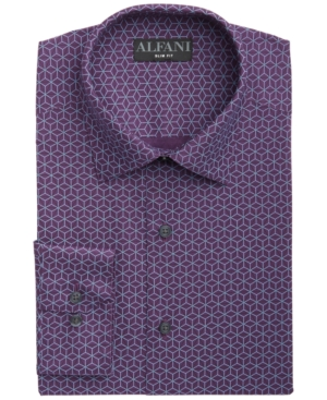 Alfani Men's Alfatech Slim-Fit Performance Stretch Wrinkle-Resistant Moisture-Wicking Pyramid Line-Print Dress Shirt, Created for Macy's