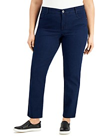 Plus & Petite Plus Size Tummy-Control Straight-Leg Jeans, Created for Macy's