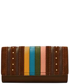 Women's Logan Stripe Leather Flap Clutch Wallet