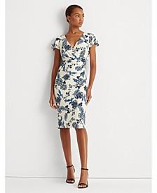 Petite Floral Jersey Surplice Dress