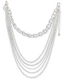 "Silver-Tone Crystal Layered Strand Necklace, 12"" + 3"" extender, Created for Macy's"