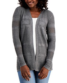 Petite Horizontal Pointelle Cardigan Sweater, Created for Macy's
