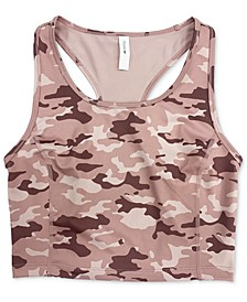Camo-Print Long-Line Low-Impact Sports Bra, Created for Macy's