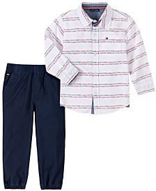 Baby Boys Woven Shirt Twill Jogger Set