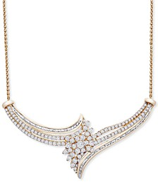 """Diamond Cluster 18"""" Statement Necklace (2 ct. t.w.) in 14k Gold, Created for Macy's"""