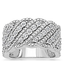 Diamond Diagonal Row Wide Statement Ring (1/6 ct. t.w.) in 10k White Gold