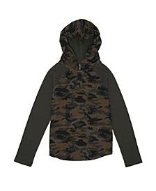 Big Boys Long Sleeve Camo Hooded Thermal Sweatshirt
