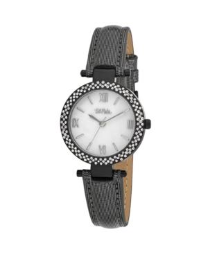 Women's Black Polyurethane Strap Glitz Mop Dial Watch