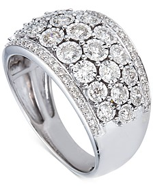 Diamond Multi-Row Cluster Ring (1 ct. t.w.) in 14k White Gold