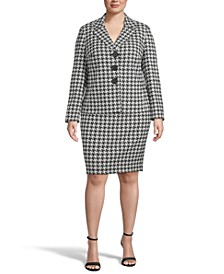 Plus Size Houndstooth Jacket & Pencil Skirt