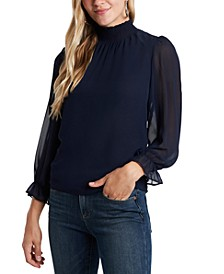 Smocked Mock-Neck Top