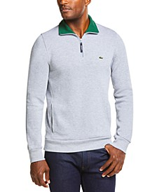 Men's Ribbed Quarter-Zip Cotton Sweatshirt