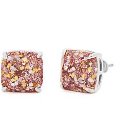 Glitter Crystal Square Stud Earrings
