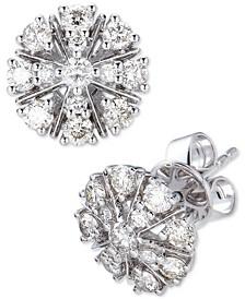 Diamond Flower Stud Earrings (1 ct. t.w.) in 14k White Gold