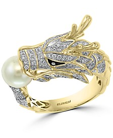 EFFY® Cultured Freshwater Pearl (7mm) & Diamond (5/8 ct. t.w.) Dragon Ring in 14k Gold