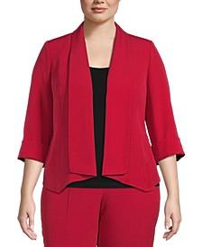 Plus Size Crepe Open-Front Jacket