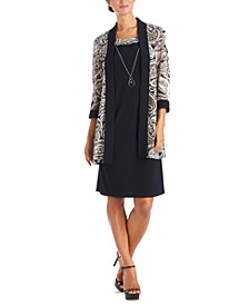 Plus Size Open-Front Jacket & Necklace Dress