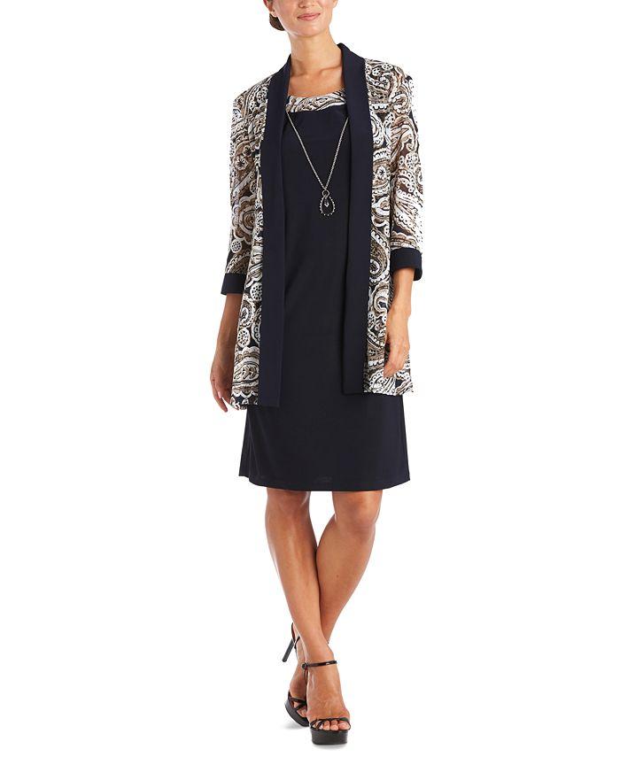 R & M Richards - Plus Size Open-Front Jacket & Necklace Dress