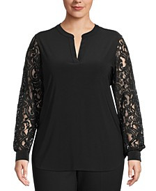 Plus Size V-Neck Lace Top