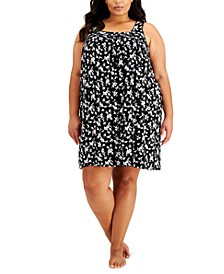 Plus Size Floral-Print Chemise Nightgown, Created for Macy's